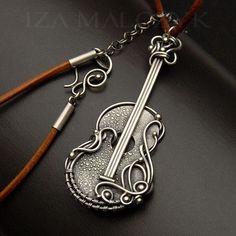 Unplugged - guitar shaped silver pendant, wire wrapping, reticulation. Iza Malczyk: http://www.izamalczyk.com/en/gallery-597-4301.html