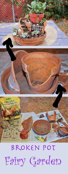 Garden Upcycle broken terracotta pots into a magical fairy garden.Upcycle broken terracotta pots into a magical fairy garden. Broken Pot Garden, Fairy Garden Pots, Fairy Garden Houses, Gnome Garden, Garden Art, Garden Ideas, Fairies Garden, Fairy Crafts, Garden Crafts