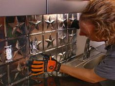 How to Create a Tin Tile Backsplash : How-To : DIY Network  I like these tiles but in copper