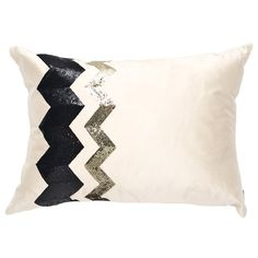 Art Deco Pillow IV in Ivory, Black & Gold