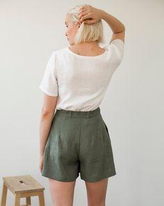Linen Shorts AGNES Linen Shorts for Woman Laundered Linen   Etsy