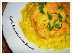 Shrimp and banana curry with saffron rice