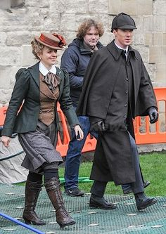 SHERLOCK (BBC) ~ Photo: Benedict Cumberbatch (Sherlock) and Amanda Abbington (Mary) behind-the-scenes at Gloucester Cathedral on January 22, 2015 filming the pre-Season 4 Special. [Click for photo gallery of cast and crew]