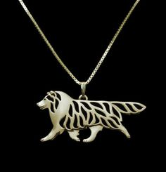 Show your love for your Sheltie or Collie with this pendant necklace! Pose mimics a walking movement. Choose from gold or silver. Buy this necklace now at this low introductory price!