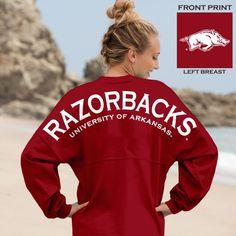 Razorbacks® University of Arkansas® - Classic Unisex Long Sleeve, Crew Neck Spirit Football Jersey® Red13-M-White