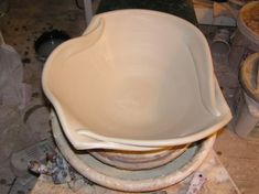"""Altered rim on large bowl, fine mess pottery. """"a really big bowl is just like any other pot: I can't let it get so precious that I am unwilling to risk ruining it; otherwise it's condemned to be ordinary"""""""