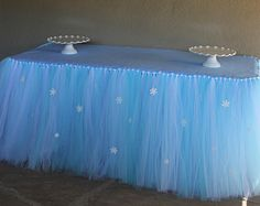 Frozen Inspired Tutu Table Skirt, Frozen Party Decoration, Table Skirt, Tutu, Frozen, Winter Wonderland Party
