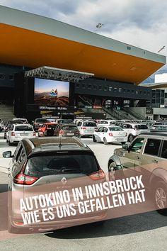 """Das Autokino Innsbruck bei der Olympiaworld. Organisiert vom Metropol Multiplex Kino Innsbruck lädt die Olympiaworld diesen Sommer zum Autokino. Corona bedingt mussten """"neue"""" Ideen her. Mit dem Autokino am Areal der Olympiaworld ist den Organisatoren ein Clou gelungen. Zwei mal pro Tag (Kinder- sowie Erwachsenen Filme) öffnen sich die Autokino Tore bis 18.06.2020. Innsbruck, Movie, Autos, Corona, Drive Inn Theater, New Ideas, Summer, Kids"""