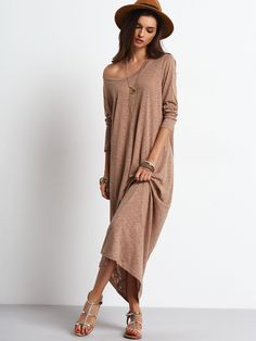 Online shopping for Apricot Scoop Neck Casual Maxi Dress from a great selection of women's fashion clothing & more at MakeMeChic.COM.