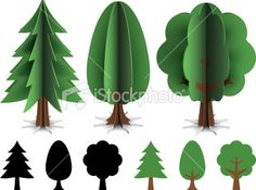 Trees made out of paper. Illustration contain transparencies and is saved as Illustrator 10 format. Paper Flower Art, Paper Flowers, Paper Trees, 3d Paper, Paper Crafts, Ben E Holly, 3d Tree, Tree Templates, Festa Party