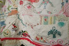 more embellishment....this is Pam Garrison's quilt she made...from her blog! Love the idea to repair Dad's old wedding ring quilt he had at college when I was born...Lorene gave him.