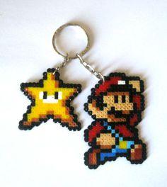 Mario and Star Keyring perler bead sprite by Ramón Rivas Farto