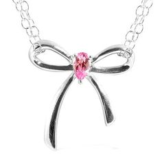 .50ctw Genuine Pink Sapphire Silver Bow Necklace Mother's Day    http://stores.ebay.com/JEWELRY-AND-GIFTS-BY-ALICE-AND-ANN