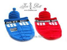 telephon box, crochet hat, box hat, polic telephon