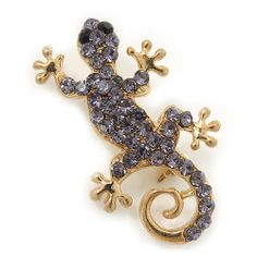 Small Violet Crystal 'Lizard' Brooch In Gold Plating - 3.5cm Length Avalaya,http://www.amazon.com/dp/B009SS9IE4/ref=cm_sw_r_pi_dp_phshtb141CG2X1M8