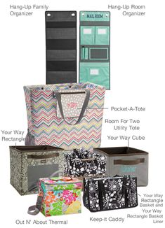 New Products from Jan 4th 2013 Thirty-One Gifts Catalog. Family Organizer, Room Organizer, Your Way Rectangle, Pocket A Tote, Your Way Cube, Keep It Caddy etc.   www.mythirtyone.com/AlmaEstrada