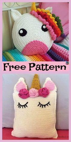 Cute Crochet Unicorn Pillow – Free Patterns #freecrochetpatterns #unicorn #pillow #giftidea