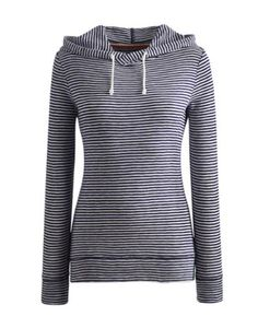 Joules Womens lightweight Sweatshirt, Indigo Stripe.                     Throw it on for a dash into town, when you've just got back from the beach or even when you aren't going anywhere. This slub cotton sweatshirt was made with summer in mind and although it's lightweight, it will still banish a breeze with ease.
