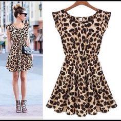 2 Left! NWOT leopard print mini dress NWOT leopard mini dress size Medium. The actual dress for sale is displayed in the last 3 images. Boutique Dresses Mini
