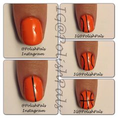 Basketball nails- I did this for my step daughter when she went to the Celtics game with her Mom :) came out so cute!
