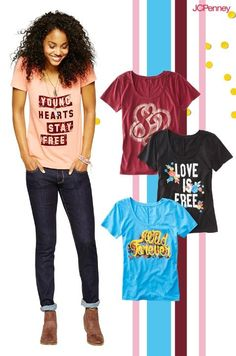 Make a statement this back to school season with attention-getting graphic t-shirts! They're a quick and easy way to jazz up classic denim jeans and express yourself with a cool and casual style. Juniors Graphic Tees, Cool Graphic Tees, School Outfits, Outfits For Teens, Pretty Outfits, Cute Outfits, Lighted Branches, Juniors Jeans, Granddaughters