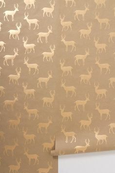 Stag wallpaper cute house made with strips of wallpaper. blue grey living room, the colors of driftwood this wallpaper! Hirsch Wallpaper, Stag Wallpaper, Graphic Wallpaper, Home Wallpaper, Eclectic Wallpaper, Metallic Wallpaper, Bathroom Wallpaper, Salon Wallpaper, Print Wallpaper