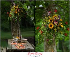 Copyright Love Story Studios www.lovestorystudiosnj.com Boho Themed Wedding South Jersey Wedding Photography A Garden Party Florist Your Day Your Way Hair and Makeup Sunflowers Table Setting Floral Chandelier