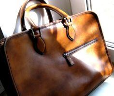 classic leather computer bag from Berluti, Paris