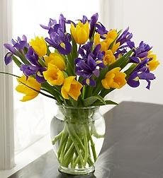 Flowers -purple and yellow. Can add baby's breath for white.