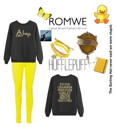 """""""Hufflepuff"""" by beoncat ❤ liked on Polyvore featuring Oui"""