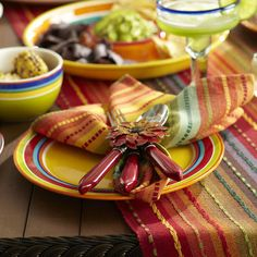 Multi-Stripe Table Runner with Fringe End