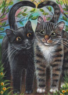Black & Gray Tabby Cats - Valentine Painting
