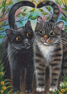 Black & Gray Tabby Cats - Valentine Painting