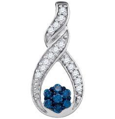 1-4CTW-Diamond FASHION BLUE PENDANT