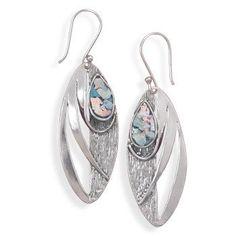 Ancient Glass Leaf Earrings - Sterling Silver - Certified Genuine