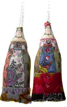 2 small textile art cloth art doll flower ladies ornaments