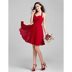 Knee-length+Chiffon+Bridesmaid+Dress+-+Grape+/+Royal+Blue+/+Champagne+/+Burgundy+Plus+Sizes+/+Petite+A-line+Halter+–+USD+$+69.99