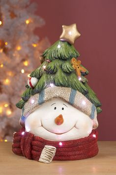 Resin Xmas Tree Snowman Head LED Figurine on @HauteLook