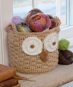 RED HEART®  It's a Hoot Owl Container #crochet #pattern