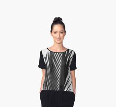 Palm: The Abstract in Black for Chiffon Tops by Polka Dot Studio. New, #tropical #palm leaf #jungle #abstract in #black and #white for #fashion #apparel for #her. Comfortable, perfect for #travel, #dressy under a suit jacket or #casual social events. Available in other coordinating products.