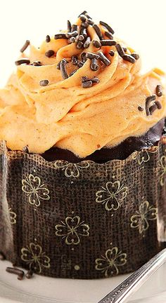 Chocolate Pumpkin Cupcakes with Pumpkin Whipped Cream Frosting