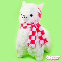 Alpacasso Plush with Scarf and Earmuffs - Medium / White