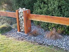 Timber and lose stone fence column