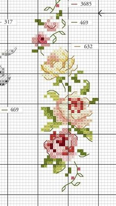 Cross Stitch Rose, Cross Stitch Flowers, Cross Stitch Embroidery, Cross Stitch Designs, Cross Stitch Patterns, Vintage Cross Stitches, Le Point, Diy And Crafts, Sewing