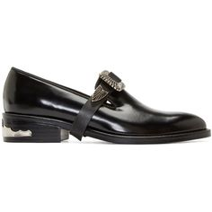 Toga Pulla Black and Silver Buckle Loafers ($390) ❤ liked on Polyvore featuring shoes, loafers, low tops, buckle shoes, genuine leather shoes, loafer shoes en leather buckle shoes