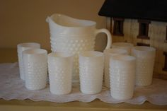 Vintage FireKing Hobnail Milk Glass Pitcher and Tumbler Serving Set