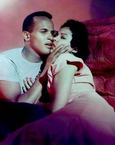 Harry Belafonte and Dorothy Dandridge on the set of 'Carmen Jones' (1954)