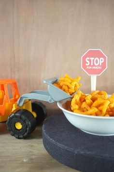 Rubble on the double! Set up a snack station dedicated to the PAW Patrol's important construction pup.