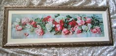 ROSES Yard Long Print Maud Stumm Vintage with Gesso Frame Rose Flower, for sale now at www.rubylane.com/shop/victorianroseprints
