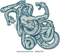 Etching engraving handmade style illustration of Hercules or Heracles of Greek mythology wearing a lion skin head fighting a Lernaean Hydra or three headed serpent on isolated white background. - stock vector